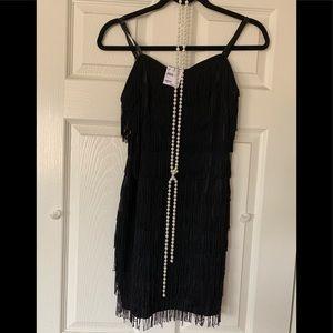 Fredrick's of Hollywood Flapper dress w/pearls (M)